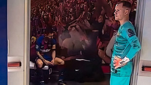 Messi y Ter Stegen, en el vestuario del estadio Da Luz.