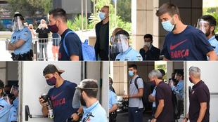 Las 'caritas' de los jugadores del Barça al aterrizar tras la paliza recibida en Lisboa