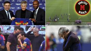 Distintos momentos de Setién en el Barça