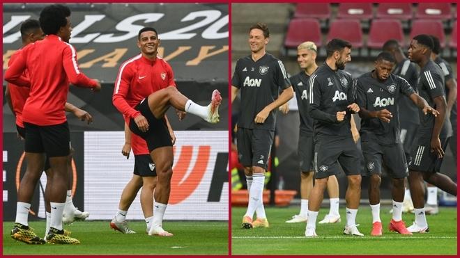 Último entrenamiento de Sevilla y Manchester United.