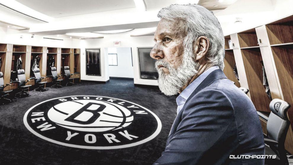 Montaje de Gregg Popovich en el banquillo de los Nets.