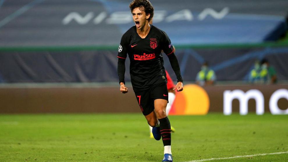 Joao Félix tras marcar el gol ante el Leipzig.