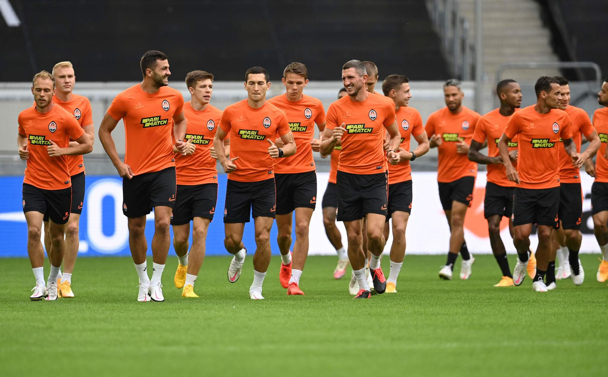 lt;HIT gt;Shakhtar lt;/HIT gt; Donetsks players take part in a training session on the eve of the UEFA Europa League semi-final football match Inter Milan v lt;HIT gt;Shakhtar lt;/HIT gt; Donetsk on August 16, 2020 in Duesseldorf, western Germany. (Photo by Sascha Steinbach / POOL / AFP)