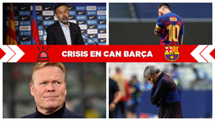Bartomeu, Messi, Koeman y Setién