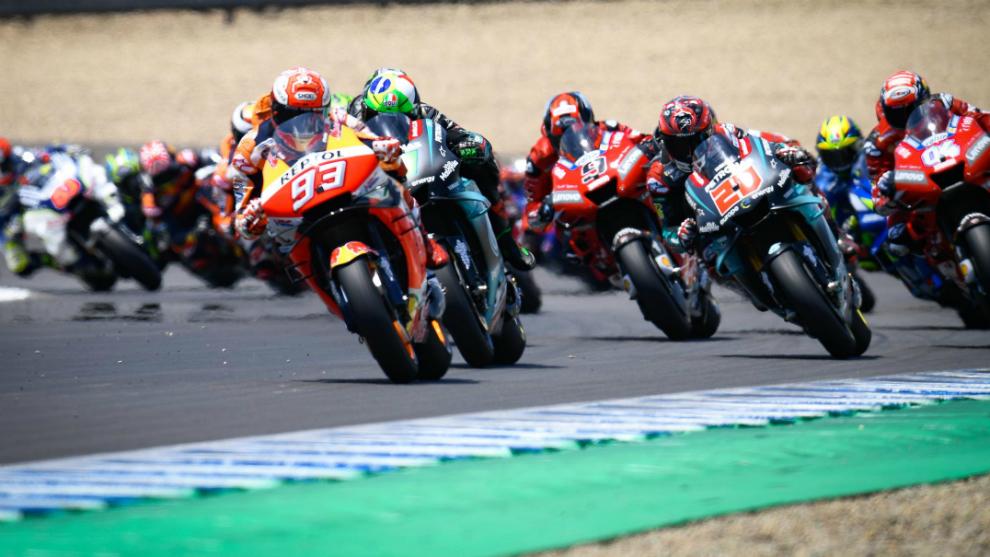 Márquez lidera el grupo en el el GP de España.