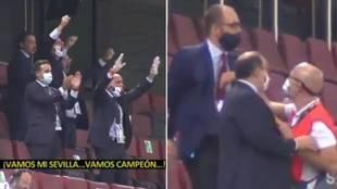 Pepe Castro intentó celebrar el triunfo en el césped... pero fue bloqueado por la seguridad