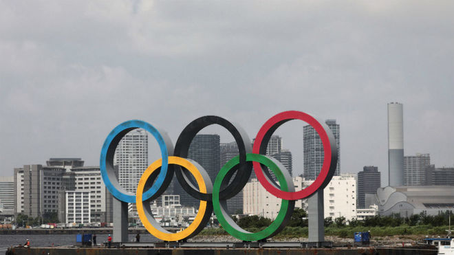 Los aros olímpicos, en Tokio