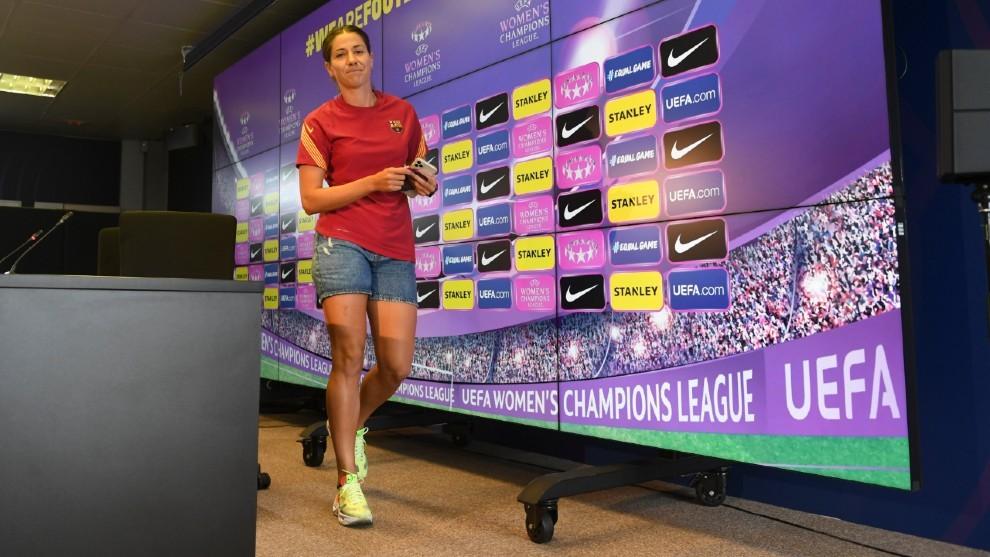 Vicky Losada abandona la sala de prensa de la Ciudad Deportiva Joan...