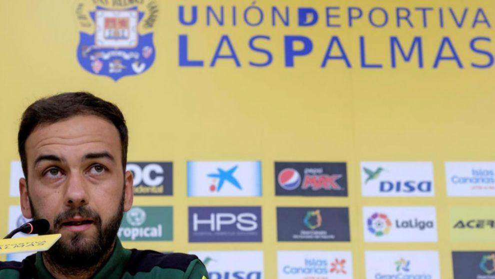 Deivid, durante su presentación como jugador de Las Palmas.