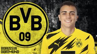Reinier Jesus, presentado con el Borussia Dortmund.