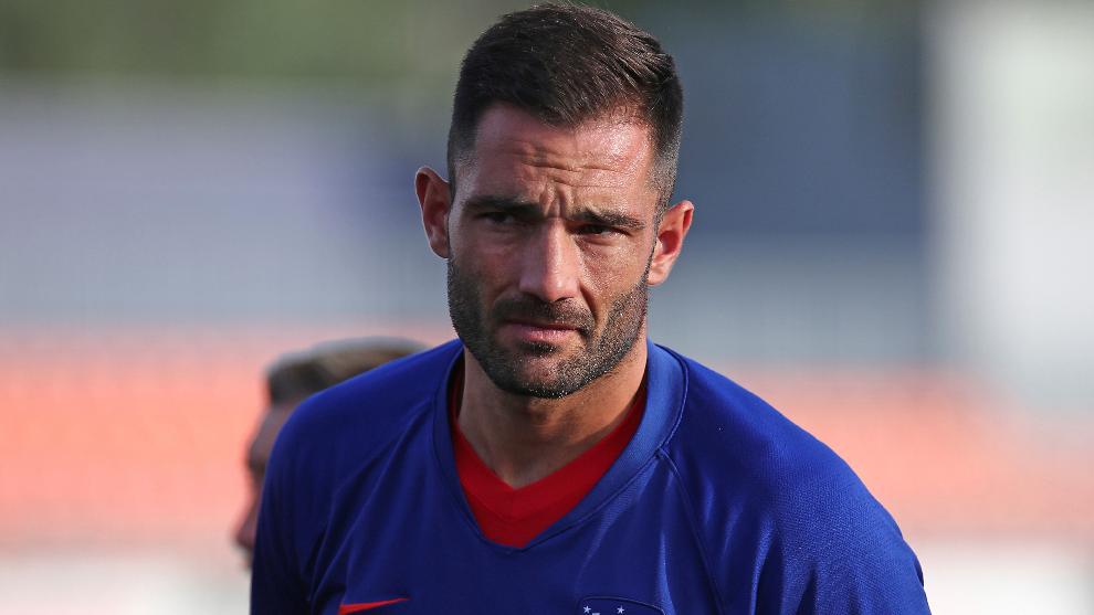El español, durante un entrenamiento del Atlético.