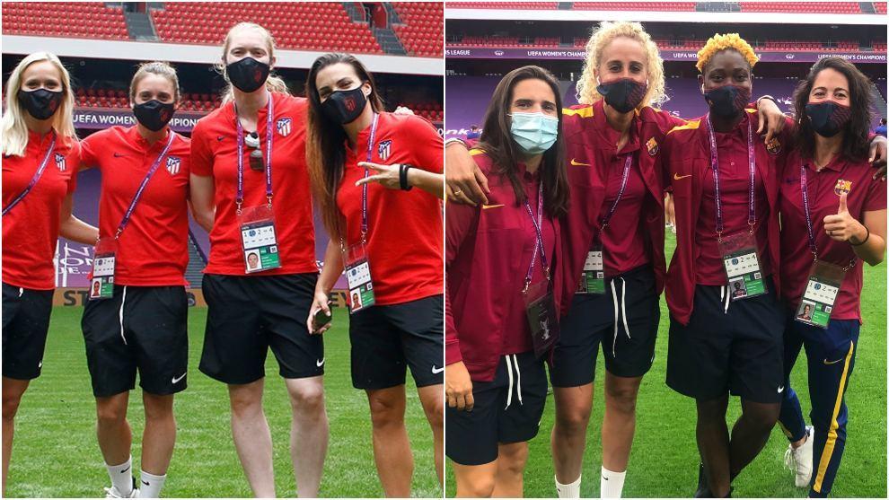 Jugadoras de Atlético de Madrid y Barcelona posan en el estadio de...