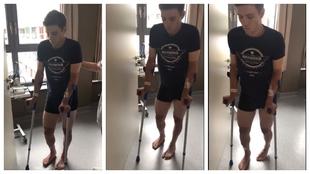 Los primeros pasos de Evenepoel tras su accidente y operación
