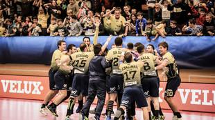 Los jugadores del Bidasoa, en un partido de la pasada ChampionsLeague