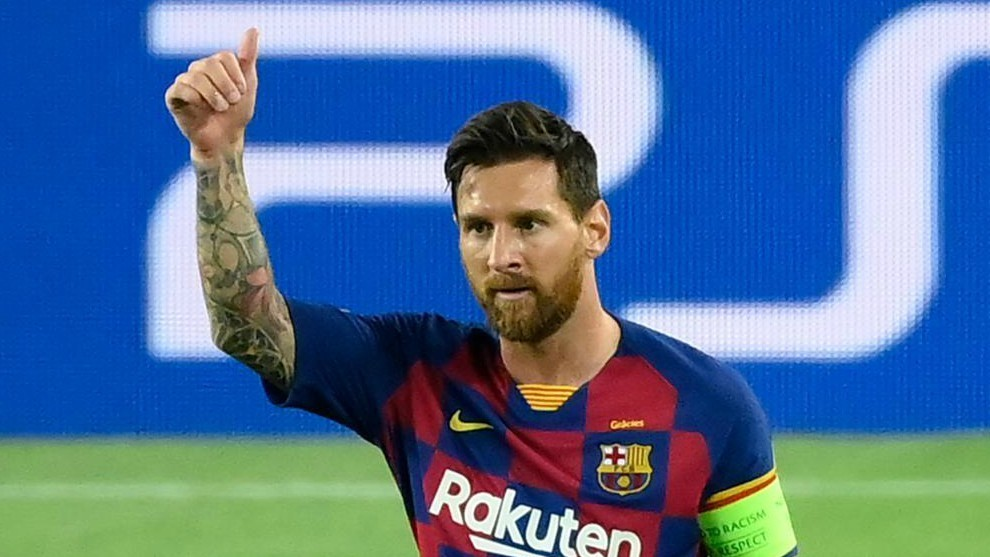 Leo Messi celebrando un gol con el Barça.