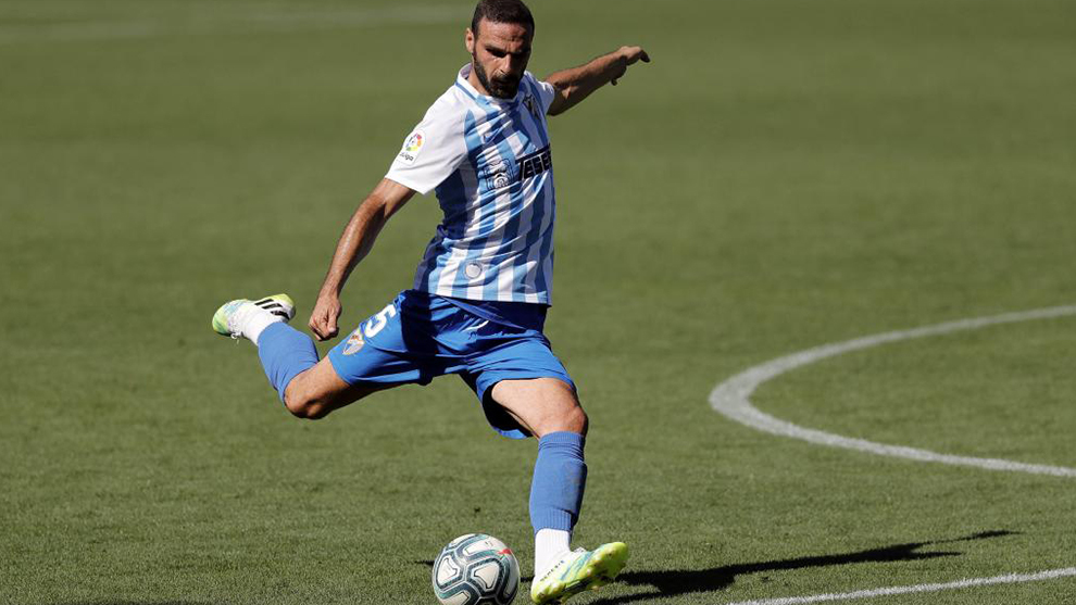 David Lombán durante la disputa de un encuentro con el Málaga...