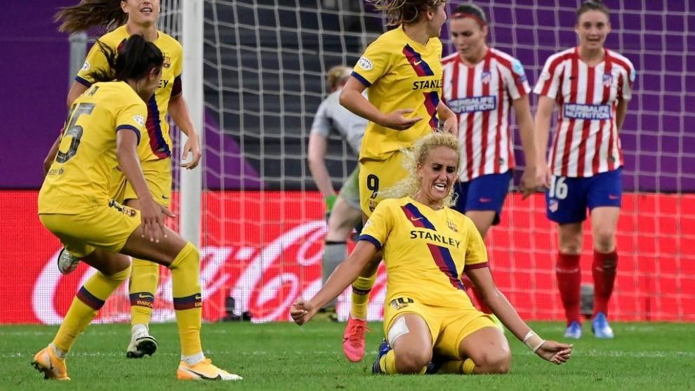 Kheira Hamraoui celebra un gol ante el Atlético de Madrid en San...