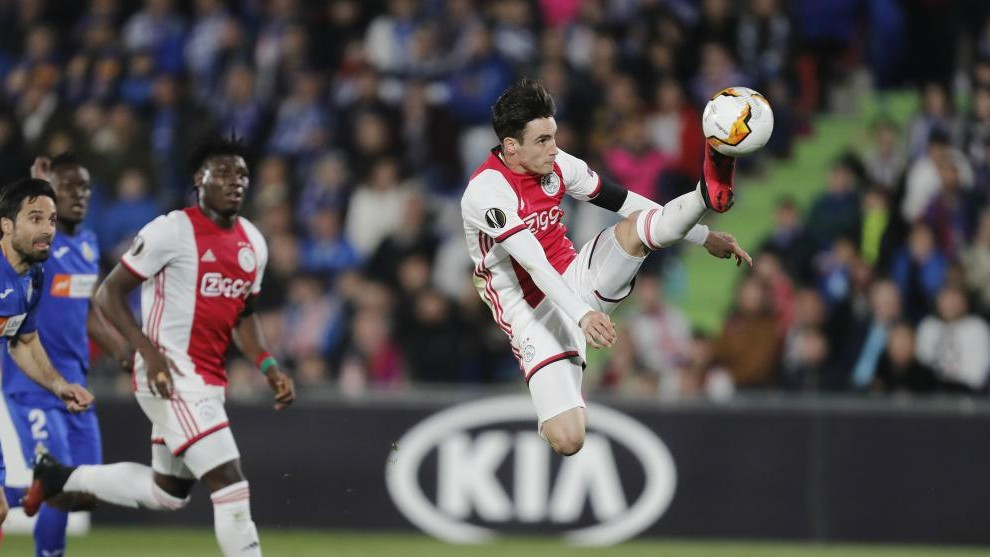 Tagliafico, en el partido contra el Getafe de Europa League.
