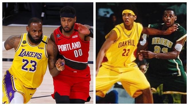 Lebron y Carmelo, actualmente en Lakers y Portland, y en su etapa...