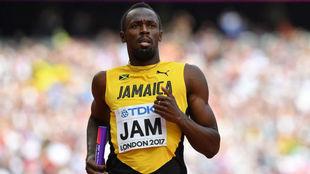 Bolt, en la prueba de 4x100 durante el Mundial de Londres 2017.