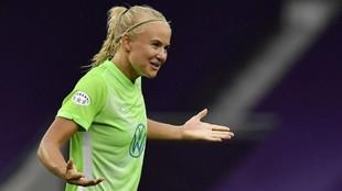 Pernille Harder durante el partido de cuartos de final ante el Glasgow...