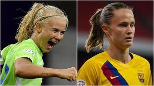 Pernille Harder y Caroline Graham-Hansen, durante los cuartos de...