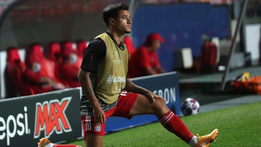 Lisbon (Portugal), 23/08/2020.- Philippe lt;HIT gt;Coutinho lt;/HIT gt; of Bayern warms up during the UEFA Champions League final between Paris Saint-Germain and Bayern Munich in Lisbon, Portugal, 23 August 2020. (Liga de Campeones, Lisboa) EFE/EPA/Miguel A. Lopes / POOL