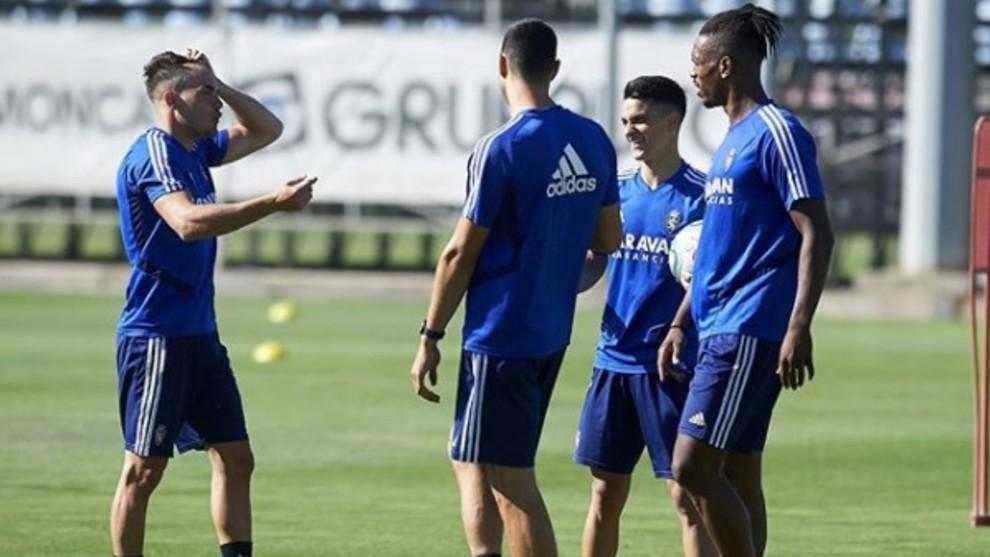 Chavarría, Bermejo, Vuckic y Jair, en un entrenamiento.