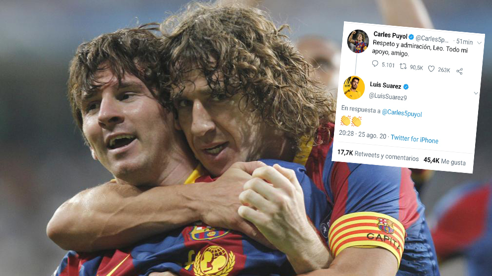 Puyol sends supportive message to Messi and Suarez applauds it
