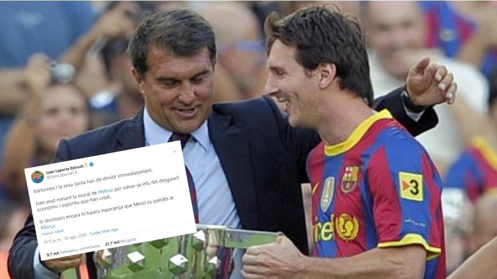 "Laporta: ""Si dimitiera Bartomeu todavía habría esperanza de que Messi se quedara"""