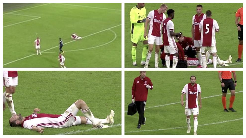 Susto de Daley Blind en el Ajax-Hertha por un fallo en su...
