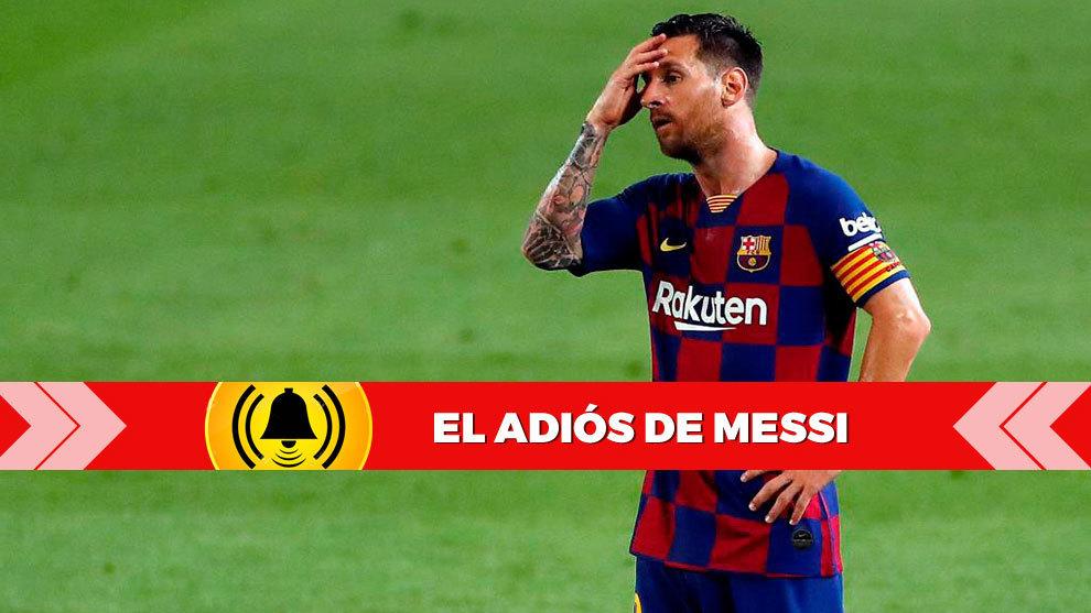 Messi se lamenta en el terreno de juego de un fallo.