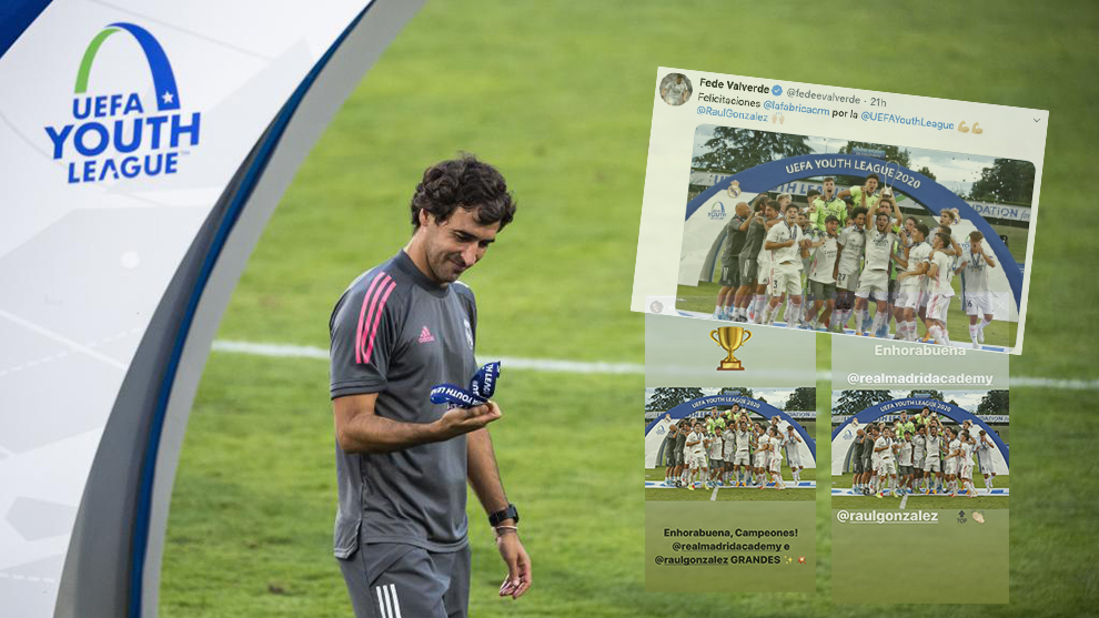 Real Madrid players congratulate Raul