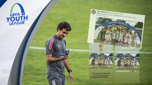 Raúl es felicitado, tras ganar la Youth League, por jugadores de la...