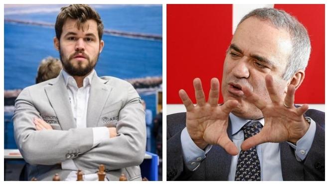 Magnus Carlsen y Garry Kasparov.