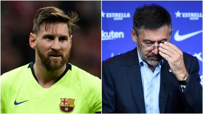 Leo Messi y Josep Maria Bartomeu.