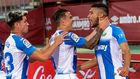 Óscar Rodríguez (22) es felicitado por sus compañeros tras marcar...