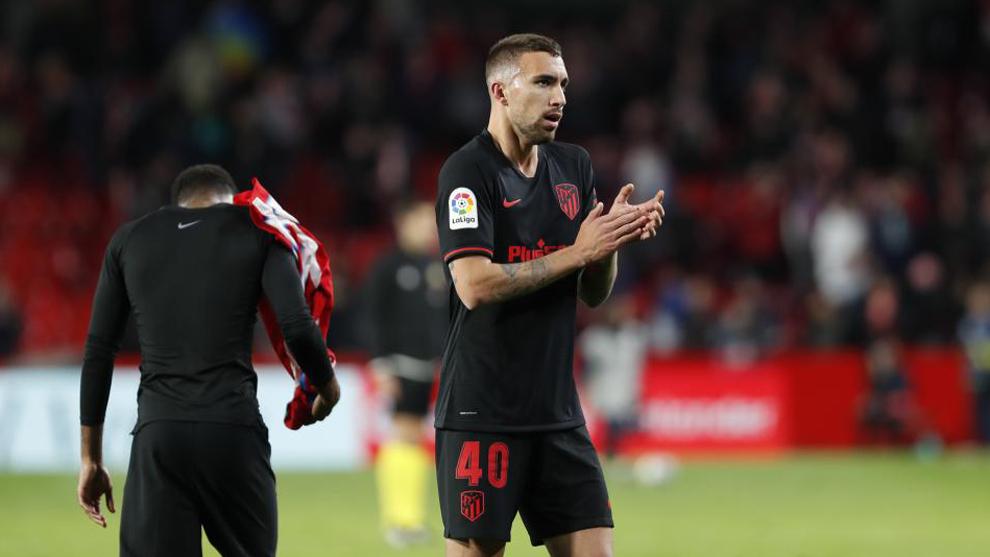 Darío Poveda durante un partido con el Atlético.
