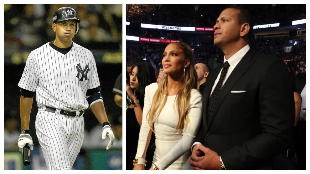 Álex Rodríguez, como jugador de los Yankees, y junto a JLo.