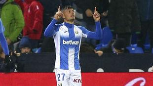 Óscar Rodríguez (22) celebra un tanto con el Leganés.