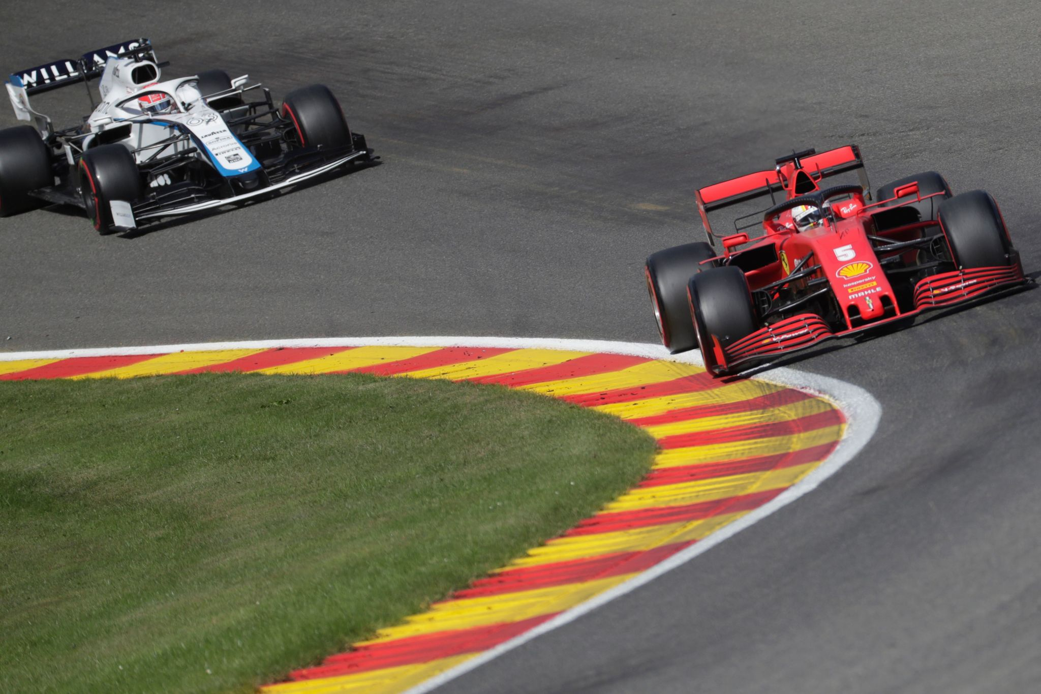 Ferraris German driver Sebastian lt;HIT gt;Vettel lt;/HIT gt; (R) drives during the third practice session at the Spa-Francorchamps circuit in Spa on August 29, 2020 ahead of the Belgian Formula One Grand Prix. (Photo by Stephanie Lecocq / POOL / AFP)