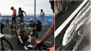 Gel hidroalcohólico y lluvia, el cóctel del que sospechan los ciclistas para explicar tanta caída