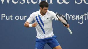 Djokovic celebra un punto durante la final