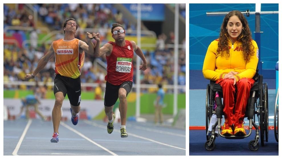 Xavi Porras, con su guía, en los Juegos de Río. A la derecha, Loida...