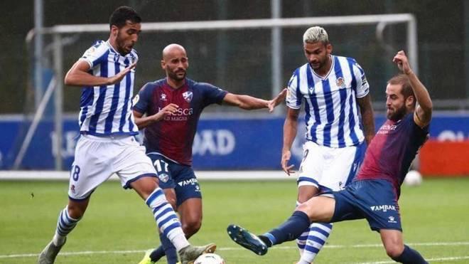 Una imagen del partido amistoso entre la Real Sociedad y el Huesca.