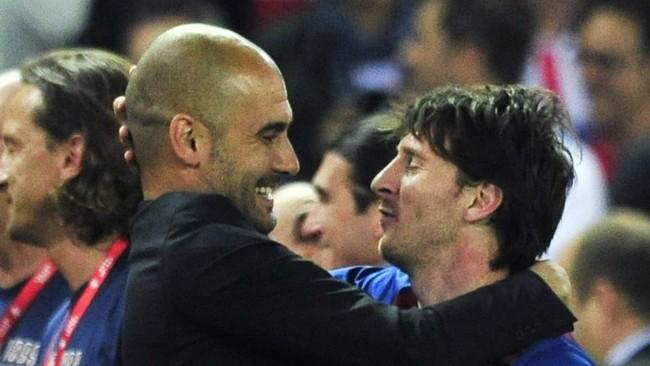 Guardiola y Messi, en un éxito del Barcelona.