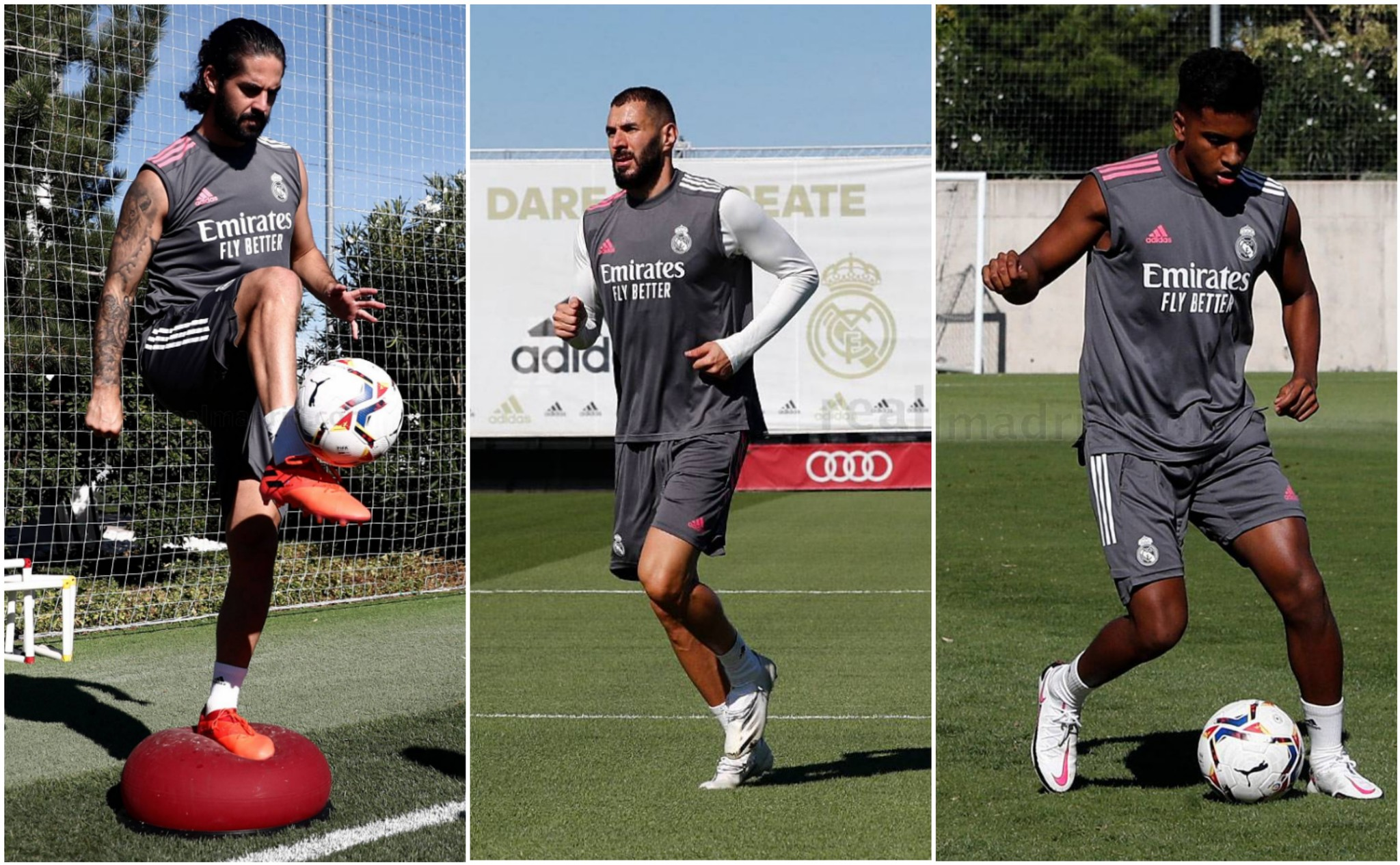 Isco, Benzema y Rodrygo, en la vuelta a los entrenamientos hoy del...
