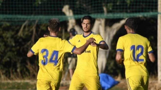 Marcos Mauro celebra su gol ante el Espanyol.
