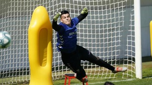 Brazão, en un entrenamiento con el Albacete