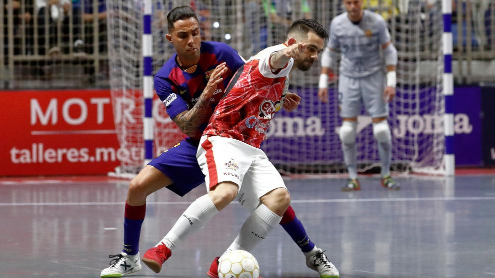 Barça y ElPozo, en un enfrentamiento liguero durante la temporada...